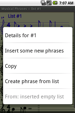 Context menu for list screenshot