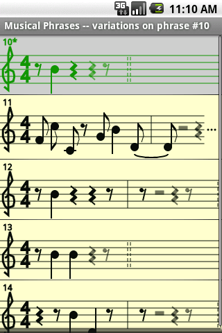 Musical phrases screenshot